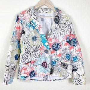 Chicos 100% Silk Embroidered Blazer Jacket